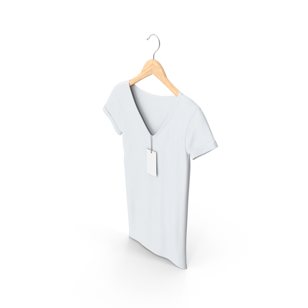 T Shirt: Female V-Neck on Hanger PNG & PSD Images
