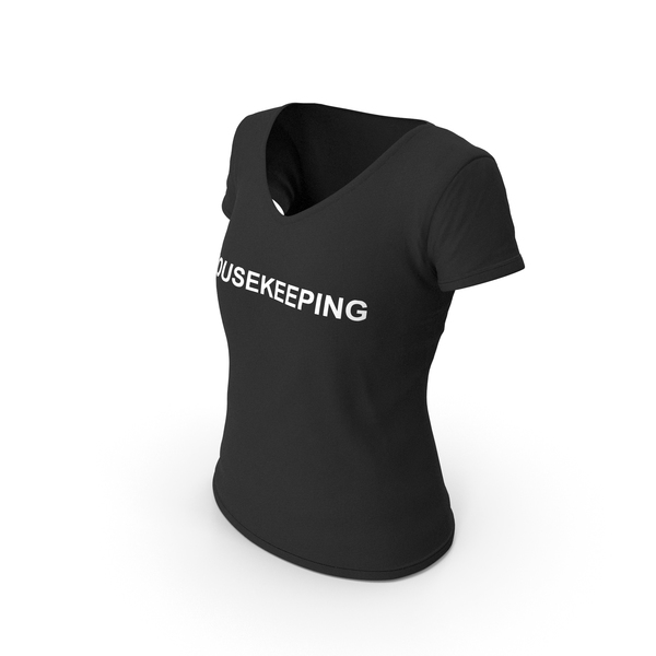 T Shirt: Female V Neck Worn Black Housekeeping PNG & PSD Images