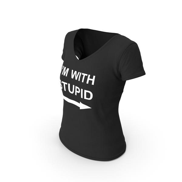 T Shirt: Female V Neck Worn Black I'm With Stupid PNG & PSD Images