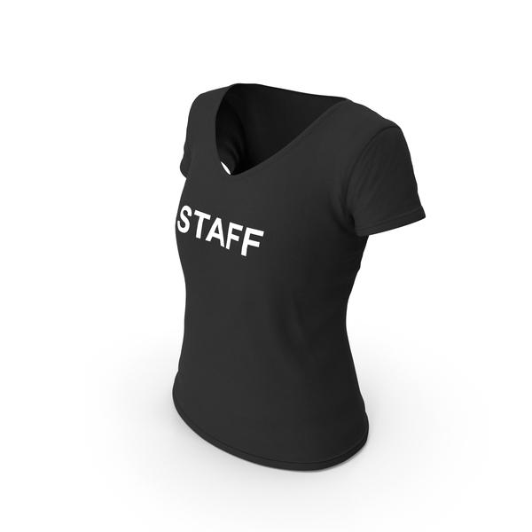 T Shirt: Female V Neck Worn Black Staff PNG & PSD Images