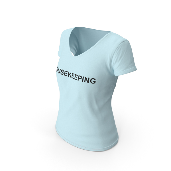 T Shirt: Female V Neck Worn Blue Housekeeping PNG & PSD Images