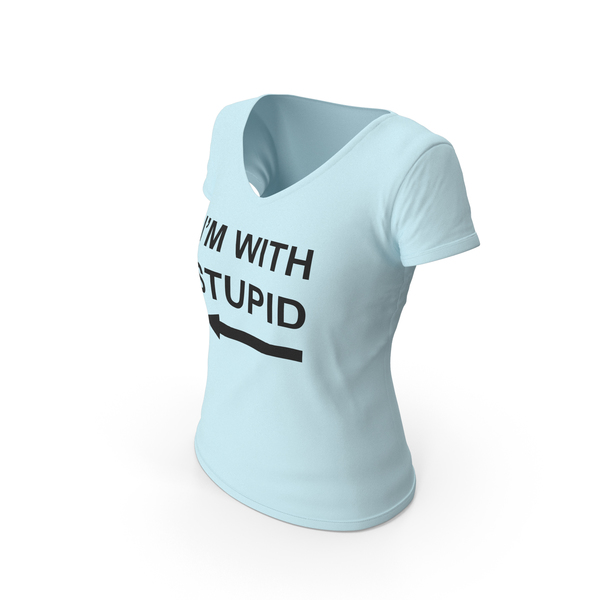 T Shirt: Female V Neck Worn Blue Im With Stupid PNG & PSD Images