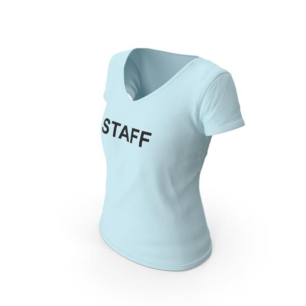 T Shirt: Female V Neck Worn Blue Staff PNG & PSD Images