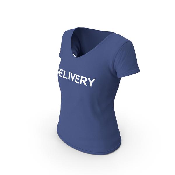 T Shirt: Female V Neck Worn Dark Blue Delivery PNG & PSD Images