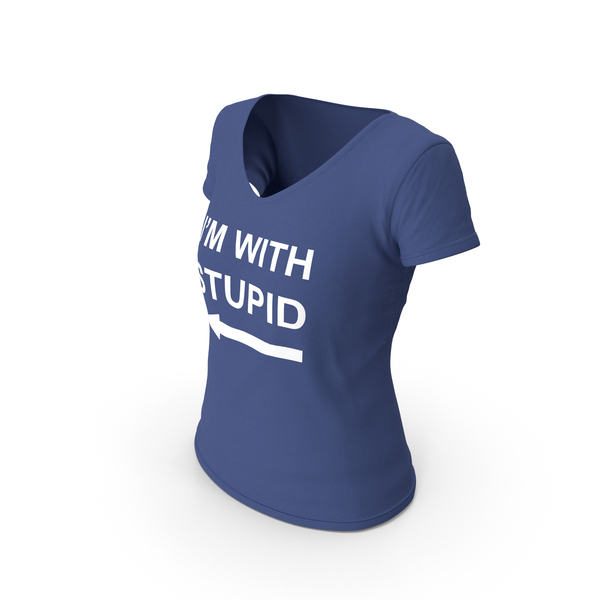 T Shirt: Female V Neck Worn Dark Blue Im With Stupid PNG & PSD Images