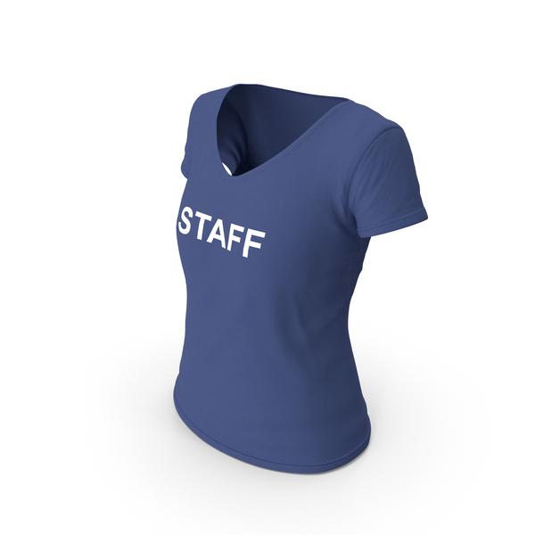 T Shirt: Female V Neck Worn Dark Blue Staff PNG & PSD Images