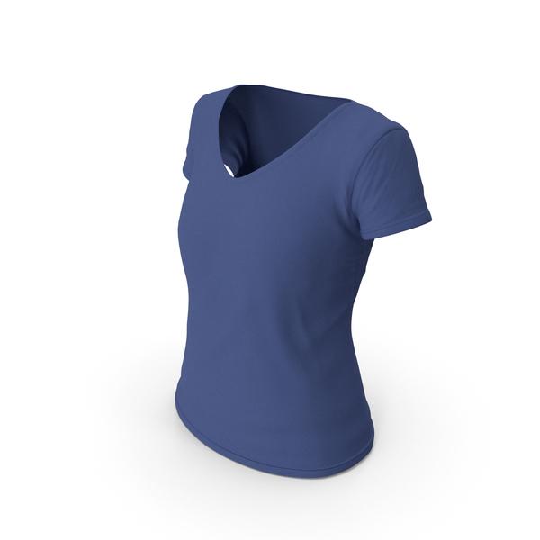 T Shirt: Female V Neck Worn Dark Blue PNG & PSD Images