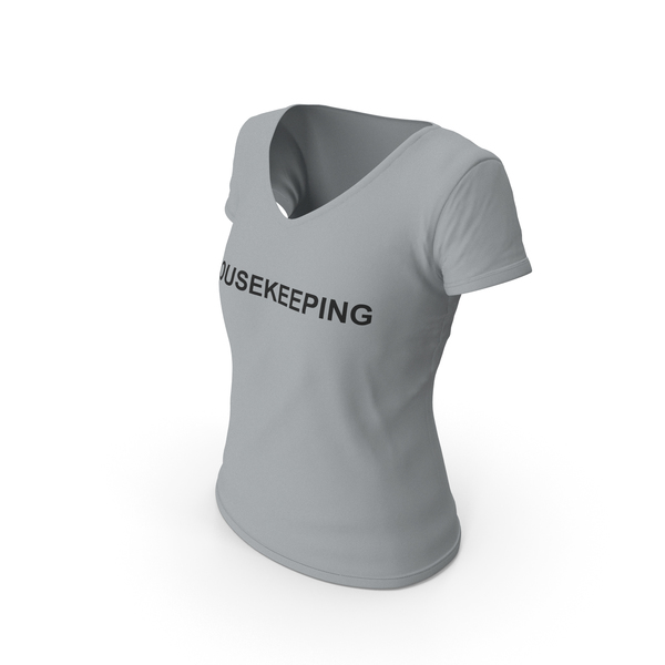 T Shirt: Female V Neck Worn Gray Housekeeping PNG & PSD Images