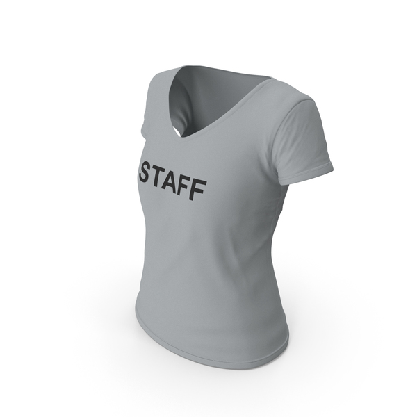 T Shirt: Female V Neck Worn Gray Staff PNG & PSD Images