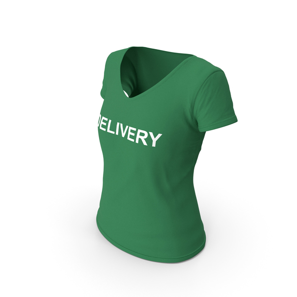 Tank Top: Female V Neck Worn Green Delivery PNG & PSD Images
