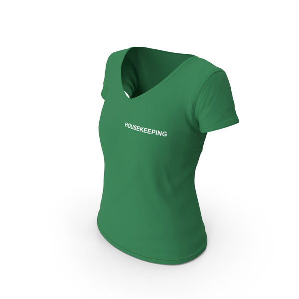 T Shirt: Female V Neck Worn Green Housekeeping PNG & PSD Images