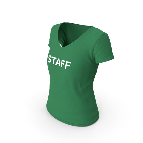 T Shirt: Female V Neck Worn Green Staff PNG & PSD Images