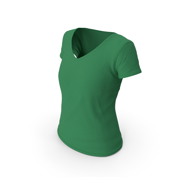 T Shirt: Female V Neck Worn Green PNG & PSD Images