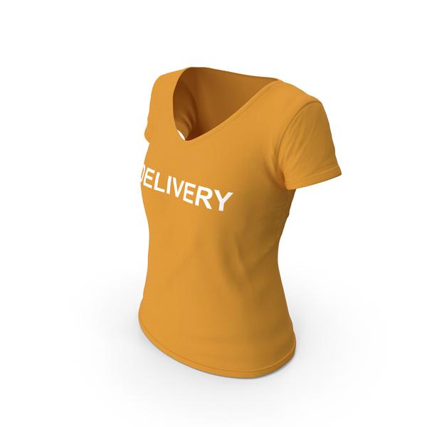 T Shirt: Female V Neck Worn Orange Delivery PNG & PSD Images