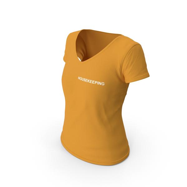 T Shirt: Female V Neck Worn Orange Housekeeping PNG & PSD Images