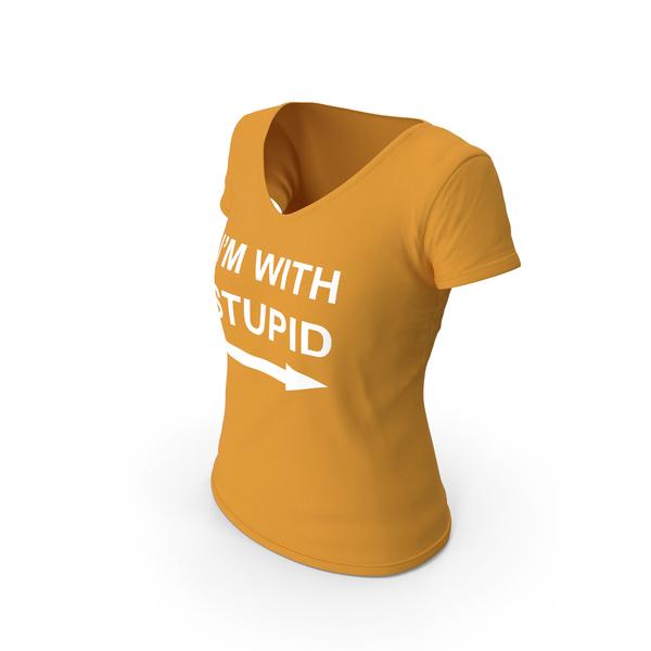T Shirt: Female V Neck Worn Orange Im With Stupid PNG & PSD Images