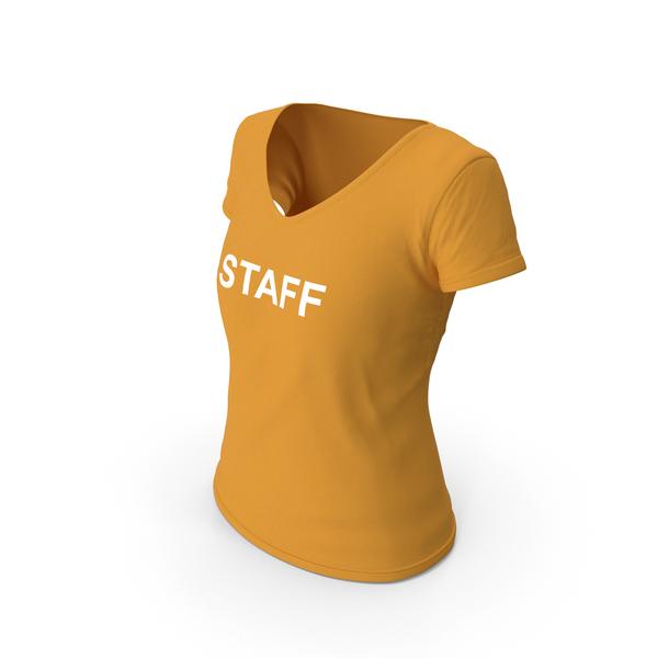 T Shirt: Female V Neck Worn Orange Staff PNG & PSD Images