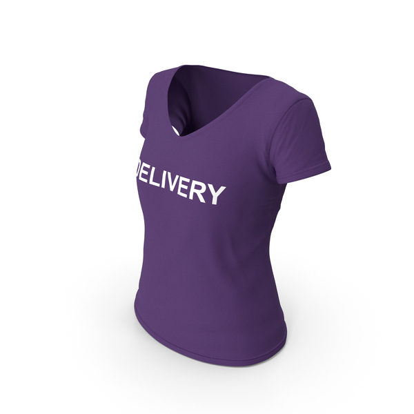 T Shirt: Female V Neck Worn Purple Delivery PNG & PSD Images