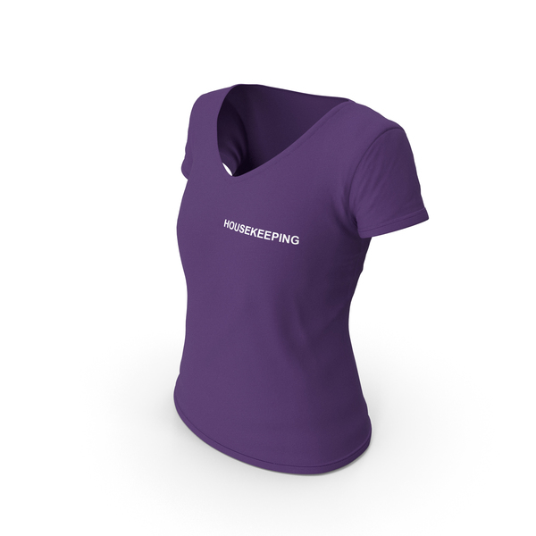 T Shirt: Female V Neck Worn Purple Housekeeping PNG & PSD Images