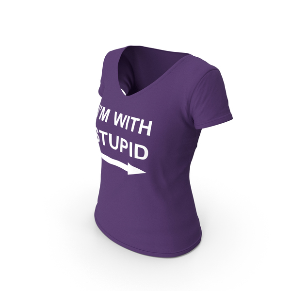 T Shirt: Female V Neck Worn Purple Im With Stupid PNG & PSD Images
