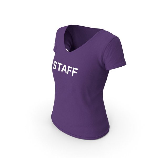 T Shirt: Female V Neck Worn Purple Staff PNG & PSD Images