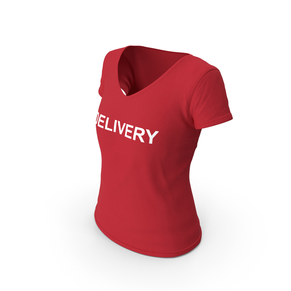 T Shirt: Female V Neck Worn Red Delivery PNG & PSD Images