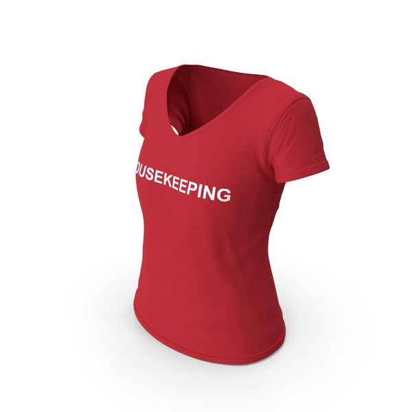 T Shirt: Female V Neck Worn Red Housekeeping PNG & PSD Images