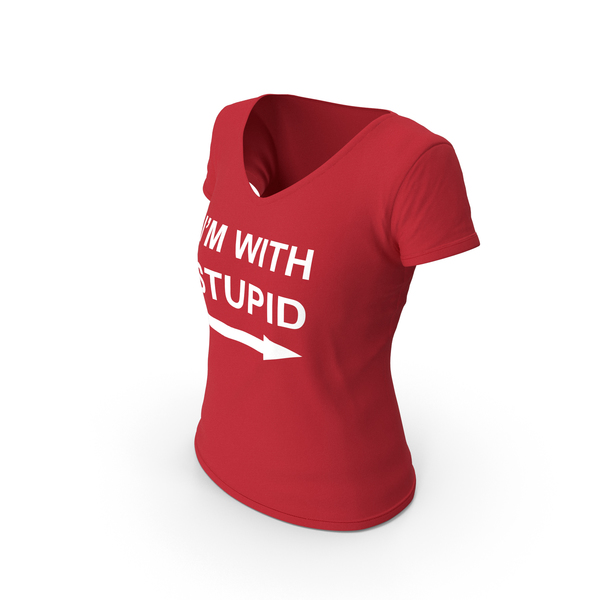 T Shirt: Female V Neck Worn Red Im With Stupid PNG & PSD Images