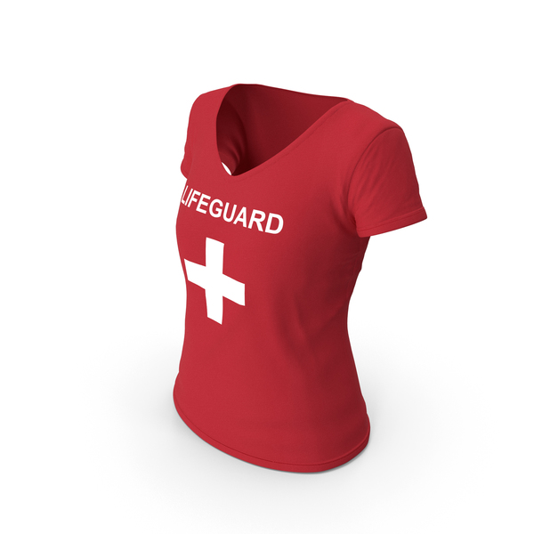 T Shirt: Female V Neck Worn Red Lifeguard PNG & PSD Images