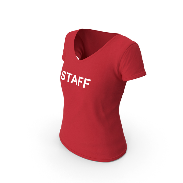 T Shirt: Female V Neck Worn Red Staff PNG & PSD Images