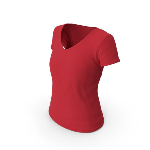 T Shirt: Female V Neck Worn Red PNG & PSD Images