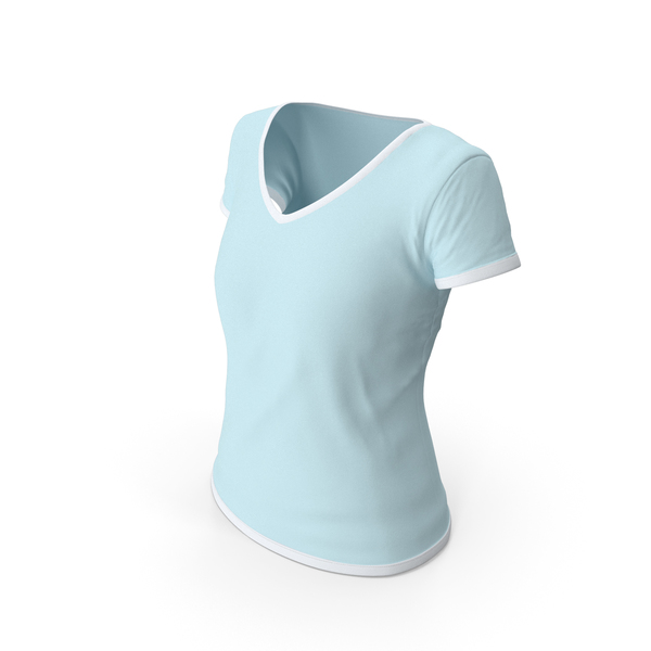 T Shirt: Female V Neck Worn White and Blue PNG & PSD Images