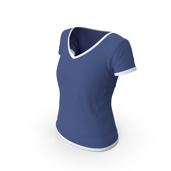 Tank Top: Female V Neck Worn White and Dark Blue PNG & PSD Images