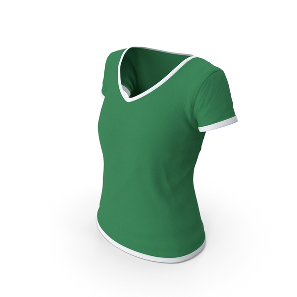 T Shirt: Female V Neck Worn White and Green PNG & PSD Images