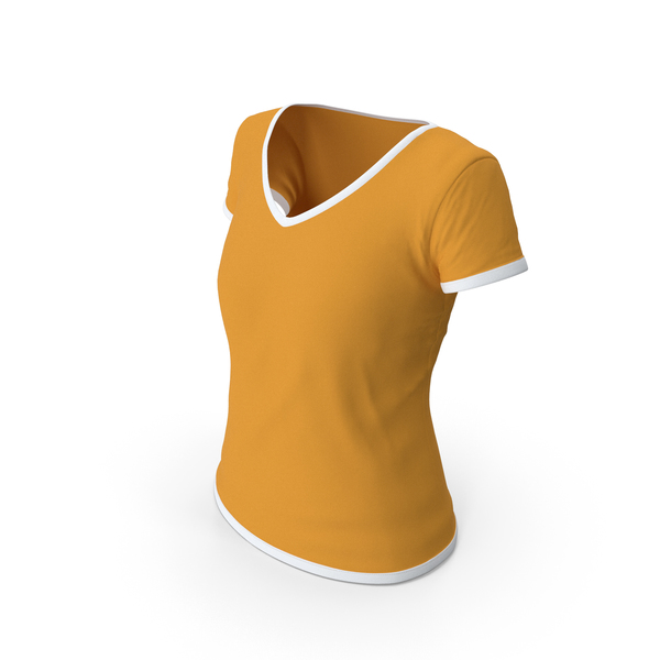 T Shirt: Female V Neck Worn White and Orange PNG & PSD Images