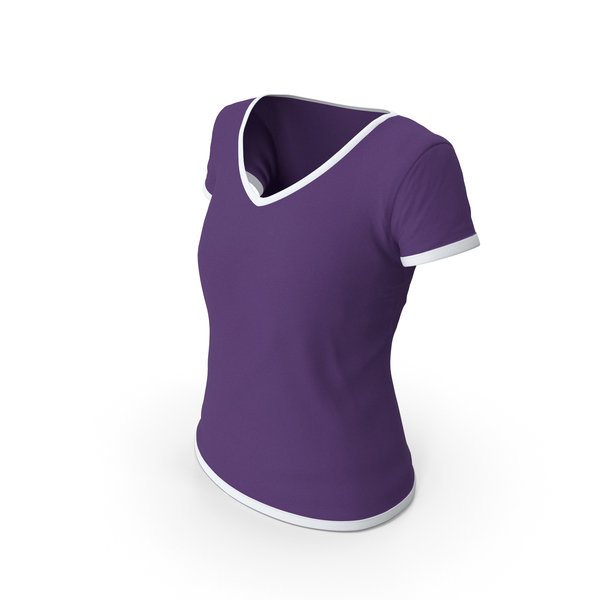 T Shirt: Female V Neck Worn White and Purple PNG & PSD Images
