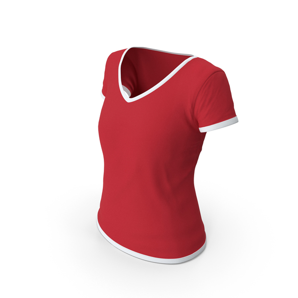 T Shirt: Female V Neck Worn White and Red PNG & PSD Images