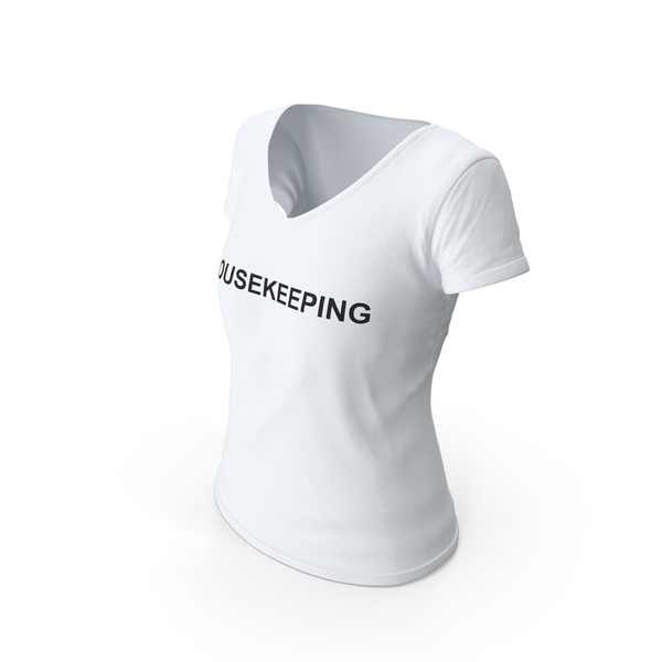T Shirt: Female V Neck Worn White Housekeeping PNG & PSD Images