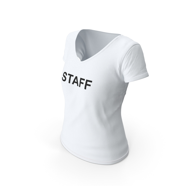 T Shirt: Female V Neck Worn White Staff PNG & PSD Images