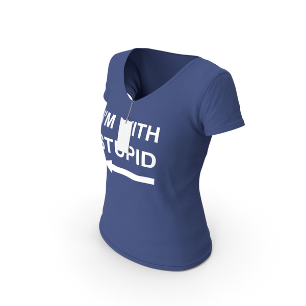 T Shirt: Female V Neck Worn With Tag Dark Blue Im With Stupid PNG & PSD Images
