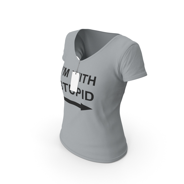 T Shirt: Female V Neck Worn With Tag Gray Im With Stupid PNG & PSD Images