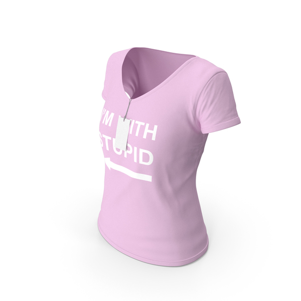 T Shirt: Female V Neck Worn With Tag Pink Im With Stupid PNG & PSD Images