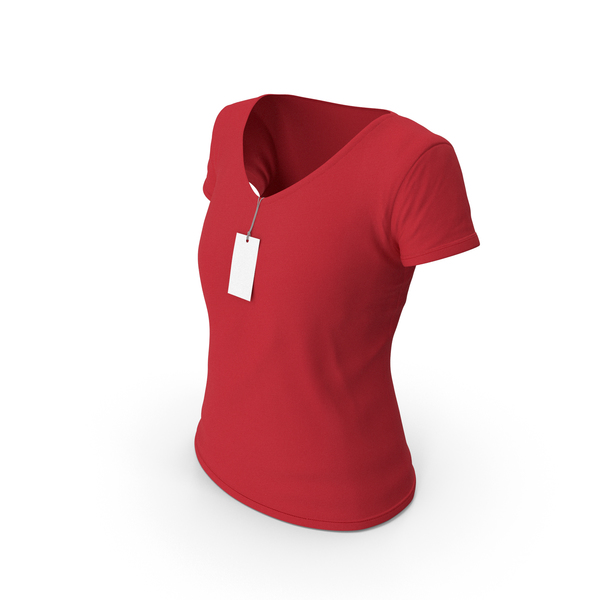 T Shirt: Female V Neck Worn With Tag Red PNG & PSD Images
