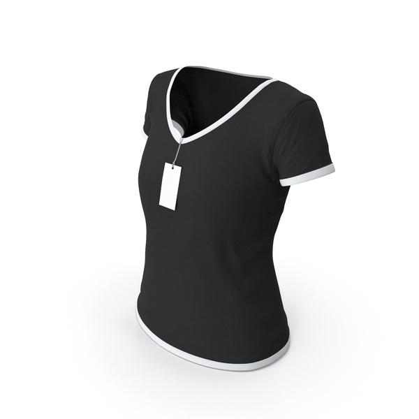 T Shirt: Female V Neck Worn With Tag White and Black PNG & PSD Images