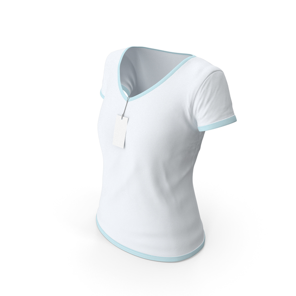 T Shirt: Female V Neck Worn With Tag White and Blue PNG & PSD Images