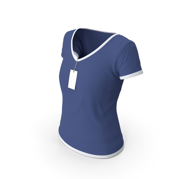 T Shirt: Female V Neck Worn With Tag White and Dark Blue PNG & PSD Images
