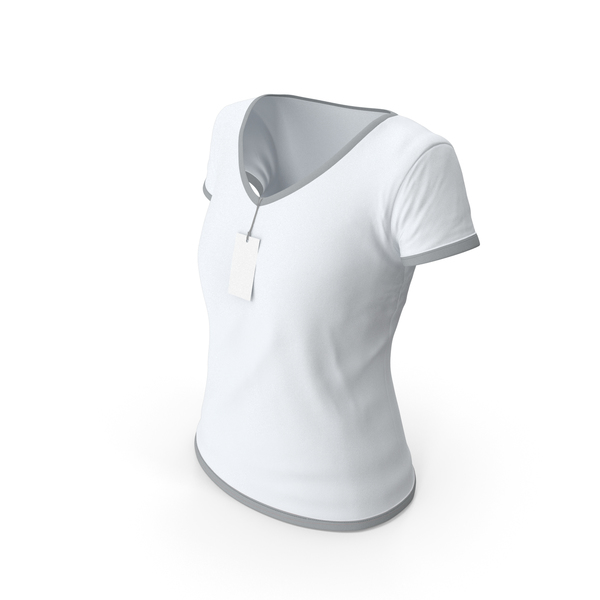 T Shirt: Female V Neck Worn With Tag White and Gray PNG & PSD Images
