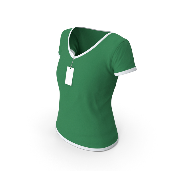 T Shirt: Female V Neck Worn With Tag White and Green PNG & PSD Images