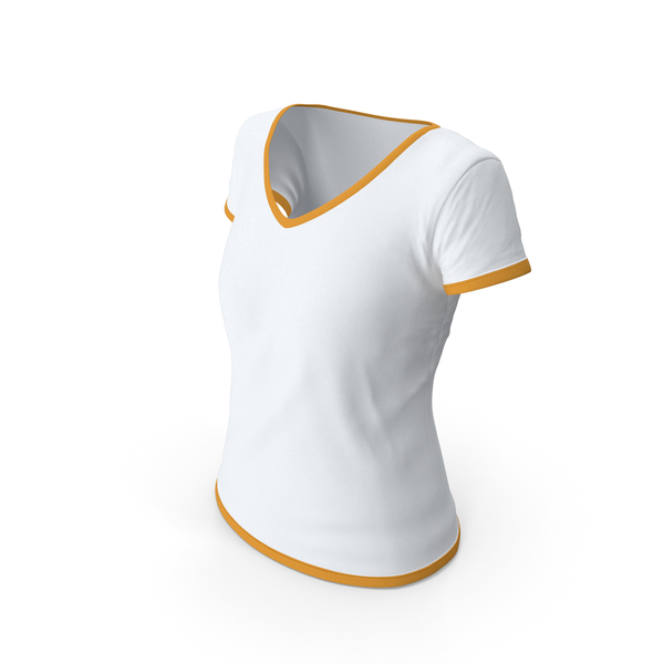T Shirt: Female V Neck Worn With Tag White and Orange PNG & PSD Images