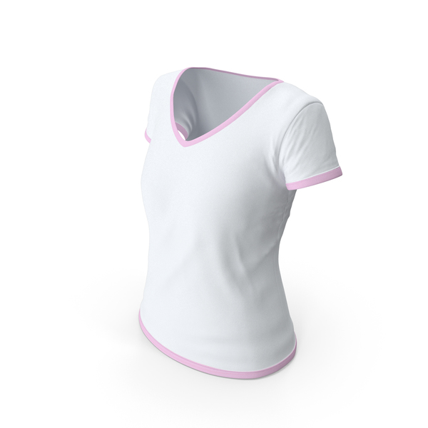 T Shirt: Female V Neck Worn With Tag White and Pink PNG & PSD Images